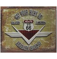 fiftiesstore Route 66 Get Your Kick's On America's Highway Metalen Poster