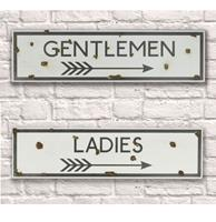 fiftiesstore Ladies Gentlemen Toilet Metalen Borden Rusty 15cm x 56cm Set van 2