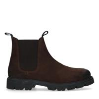 Manfield Donkerbruine nubuck chelsea boots