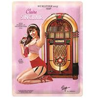 fiftiesstore Wurlitzer 1015 Jukebox Pin-Up Claire Sinclair Metalen Bord 30 x 40 cm