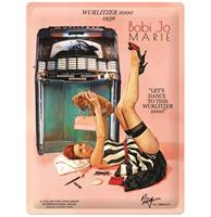 fiftiesstore Wurlitzer 2000 Jukebox Pin-Up Bobi Jo Marie Metalen Bord 30 x 40 cm
