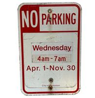 fiftiesstore No Parking Wednesday 4AM - 7AM April 1 - November 30 Straatbord - Origineel