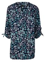 M. collection Blouse  Marine::Turquoise::Wit