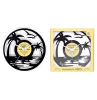 fiftiesstore Vinyl Klok Strand Met Palmbomen - Gemaakt Van Een Gerecyclede Plaat