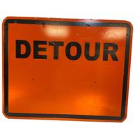 fiftiesstore Detour Road Construction Metalen Straatbord - Origineel
