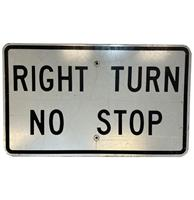fiftiesstore Right Turn No Stop Metalen Straatbord - Origineel