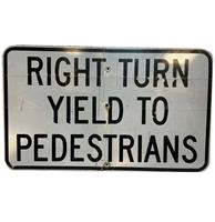 fiftiesstore Right Turn Yield To Pedestrians Metalen Straatbord - Origineel