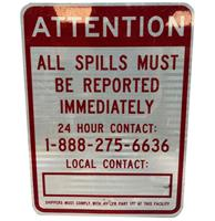 fiftiesstore Attention All Spills Must Be Reported Metalen Straatbord - Origineel