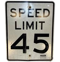 fiftiesstore Speed Limit 45 Straatbord - Origineel