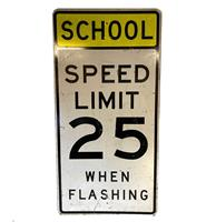 fiftiesstore School Speed Limit 25 Bord - 61 x 122 - Original