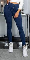 Cosmoda Collection Sexy hoge taille jeggings met ritssluiting blauw