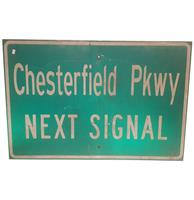 Fiftiesstore Chesterfield Pkwy Next Signal Straatbord - Origineel
