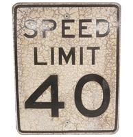 Fiftiesstore Speed Limit 40 Zwaar Metalen Straatbord - Origineel