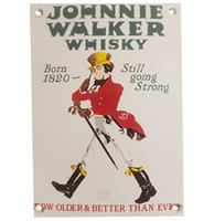 Fiftiesstore Johnnie Walker Whisky Emaille Bord - 15 x 11 cm