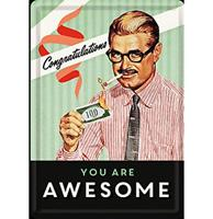 Fiftiesstore Metalen Postkaart Congratulations You Are Awesome