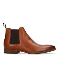 Manfield Cognac leren chelsea boots