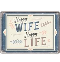 Fiftiesstore Metalen Postkaart Happy Wife Happy Life