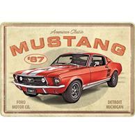Fiftiesstore Metale Postkaart Ford Mustang - GT 1967 Rood