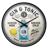 Fiftiesstore Wandklok Gin & Tonic Served Here
