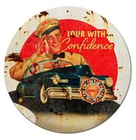 Fiftiesstore Shell Tour With Confidence Metalen Bord 36 cm