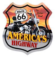 Fiftiesstore Route 66 America's Highway Motorcycle Zwaar Metalen Bord