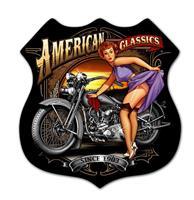 Fiftiesstore American Classics Motorcycle Pin Up Zwaar Metalen Bord
