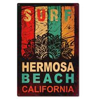 Fiftiesstore Surf Hermosa Beach Zwaar Metalen Bord 59,5 x 39,5 cm