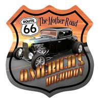 Fiftiesstore Route 66 America's Highway Hot Rod Zwaar Metalen Bord