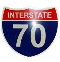 Fiftiesstore Interstate 70 Straatbord - Roestig Uitziende Plekjes - 43 x 38 cm