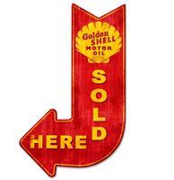 Fiftiesstore Golden Shell Motor Oil Sold Here Zwaar Metalen Bord - 61 x 38 cm