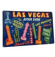 Fiftiesstore Las Vegas After Dark Metalen Bord 29.5 x 44.5 cm