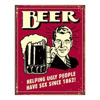 Theretrofamily Metalen Retro Bord Beer Ugly People