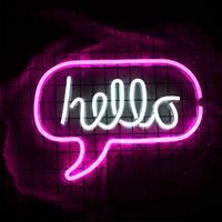 Theretrofamily Neon bord met de tekst Hello inclusief USB kabel
