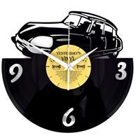 Fiftiesstore Vinyl Klok De Snoek Klassieke Auto - Gemaakt Van Een Gerecyclede Plaat