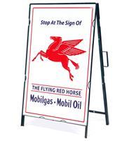 Fiftiesstore The Flying Red Horse Mobilgas - Mobiloil Metalen Frame Met Bord