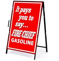 Fiftiesstore It Pays You To Say Fire Chief Gasoline Metalen Frame Met Bord