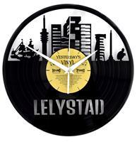 Fiftiesstore Vinyl Klok Skyline Lelystad - Gemaakt Van Een Gerecyclede Plaat
