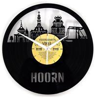 Fiftiesstore Vinyl Klok Skyline Hoorn - Gemaakt Van Een Gerecyclede Plaat