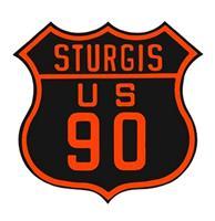Fiftiesstore Sturgis US 90 Blikken Bord Met tekst In Relief 39,5 x 40 cm
