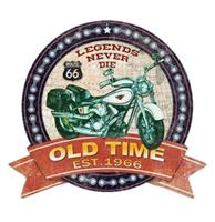 Fiftiesstore Route 66 Legends Never Die Old Time Cut Out Metalen Bord 39 x 35 cm