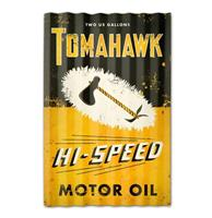 Fiftiesstore Tomahawk Hi-Speed Motor Oil Gegolfd Zwaar Metalen Bord 60 x 38 cm