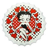 Fiftiesstore Betty Boop Met Hartjes Flessendop Bord - 35 cm ø