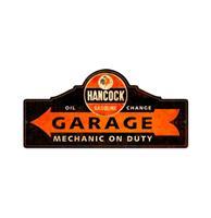 Fiftiesstore Hancock Oil Garage Zwaar Metalen Bord 66x30 cm