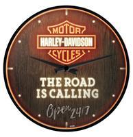 Fiftiesstore Wandklok Harley-Davidson - Road is Calling Neon