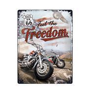 Fiftiesstore Tinnen Bord 30 x 40 Route 66 Freedom