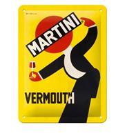 Fiftiesstore Tinnen Bord 15 x 20 Martini - Vermouth Waiter Yellow