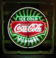 Fiftiesstore Coca-Cola Ice Cold Neon Verlichting Met Achterplaat - 100 cm ø