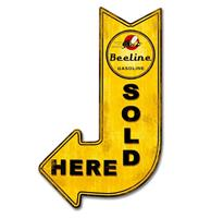 Fiftiesstore Beeline Gasoline Sold Here Arrow Zwaar Metalen Bord 63 x 37,5 cm
