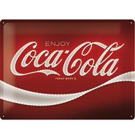 Fiftiesstore Coca-Cola Logo Red Lights Metalen Bord - 30 x 40 cm