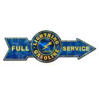 Fiftiesstore Full Service Lightning Gasoline Pijl Zwaar Metalen Bord - 80 x 28 cm